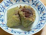 抹茶あんこ粽(抹茶豆沙粽)をわったところ
