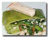 カノム・グイチャイ タイ風韮饅頭を割ったところ